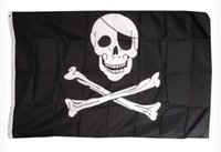 Wholesale 2016 Hot Sale Skull Polyester Flags Styles Halloween Pirate Skull Flags for Bars Haunted House cm DHL Shipping