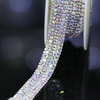 Wholesale Rhinestone Chain Cups - Wholesale-1 yard Top-Grade Crystal AB Glass Wide Rhinestone Cup Chain Silver Base Trim Applique Sew on Rhinestones For Garments