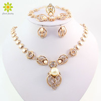 Wholesale costume jewelry pearl set - Gold Plated Imitation Pearl Wedding Costume Necklace Earrings Sets Fashion Romantic Clear Crystal Women Party Gift Jewelry Sets