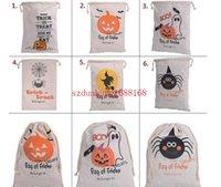 Wholesale Cavas Bags - Halloween Trick or Treat Fancy Bag Pumpkin Spider Printed Cavas Sack Children Party Festival Drawstring Bag