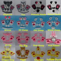 Wholesale Animal Cosplay - Halloween Costume for KIDs Cosplay Various Panda Sheep Frog Mouse Animal Headband Ears Tie Tail Paws Gloves Hair Accessories