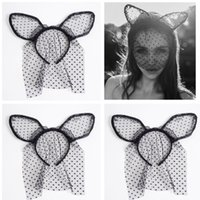 Wholesale Black Bunny Mask - Fashion Women Girl Hair Bands Lace Rabbit Bunny Ears Veil Black Eye Mask Halloween Party Headwear Hair Accessories Masks Black A7623