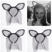 Wholesale Mask Hair Accessories - Fashion Women Girl Hair Bands Lace Rabbit Bunny Ears Veil Black Eye Mask Halloween Party Headwear Hair Accessories Masks Black A7623