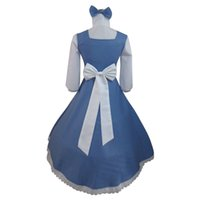 Wholesale Belle Adult Costume - Adult Belle and Beast Live Belle Maid Fancy Dress Lolita Dress Cosplay Costume Halloween and Christmas Party Cosplay Costumes