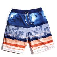 Wholesale Male Hot Surf Short - Wholesale-2016 Hot Mens Board Shorts Coconut Tree Pattern Surf Beach Shorts Quick Dry Bermudas De Surf Brand Male Capris Swim Bathing Suit
