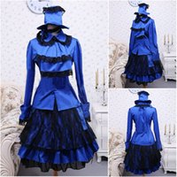 Compra Costume Scolastico Vittoriano-All'ingrosso-In vendita! Blu raso Sweet Lolita vestito pieno di camicia Short Skirt Dress Halloween vestito vittoriana vestito School Dress Uniform V-971
