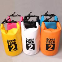 équipement de jogging achat en gros de-6 Couleurs 2L Ultra-Léger Portable Sacs Extérieurs Voyage Rafting Drifting Dry Bag Stockage Bleu / Blanc / Orange / Vert Camping Équipement
