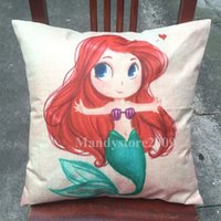 Wholesale Princess Chair Covers - Mermaid Ariel Cushion Cover Cartoon Princess Girls Style Pillow Case Cute Cushion Cover Chairs Seat Cushion Covers For Sofa And Cars