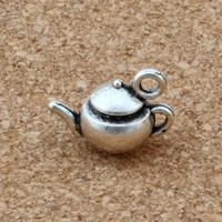 vasos de chá prateados venda por atacado-MIC 100 pcs Antique Silver liga de zinco 3D pote de chá encantos pingente de 17.5x13mm DIY jóias