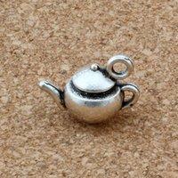 ingrosso vasi di zinco-MIC 100 pezzi argento antico in lega di zinco 3d tea pot pendente di fascini 17.5x13mm gioielli fai da te