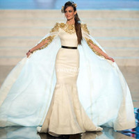 Wholesale dresses made usa - Miss USA 2016 Pageant Evening Gowns with Cloak Gold Applique Satin Mermaid Sash Krikor Jabotian Formal Occasion Dresses Prom Gowns Arabic