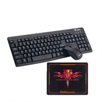 Wholesale 3lue Keyboard - 2.4GHz Wireless Slim Keyboard and Mouse Set Office and Gaming Kit 1600DPI Mouse Mini Computer Notebook Keyboard and Mouse Set