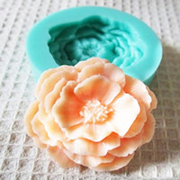 fondant de rosas al por mayor-Venta al por mayor de silicona 3D flor de Rose fondant molde de decoración de pasteles de jabón de chocolate artesanal moldes envío gratis