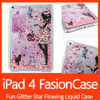 Wholesale Ipad Cover Glitter - Fun Glitter Star Flowing Liquid Case For iPad 4 Little Girl Transparent Clear Golden Covers Hard Plastic Cell Phone Cases DHL Free shipping