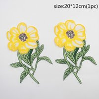 Wholesale Backpack Stickers - 1 Pc Of Sunflower Patches Embroidered Badges Patches For Clothes Backpack Iron Applique Sticker Sewing Accessories