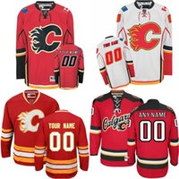 Wholesale Flame Numbers - 2016 Customized Men's Calgary Flames Custom Any Name Any Number Ice Hockey Jersey,Authentic Jersey Stitched Accept Mix Ord size S-3XL