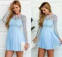 elegante vestido azul de verano al por mayor-Sky Blue de manga larga de encaje de ganchillo gasa Skater Short Prom Homecoming vestidos de vacaciones de verano elegante barato Short Occasion prom vestido