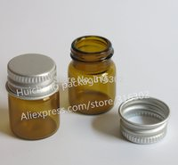 frascos de alumínio de óleo essencial venda por atacado-Esvazie a garrafa de vidro ambarina de 5ml com os tubos de ensaio de alumínio do vidro das tampas 5cc de Brown para o uso 50pcs do óleo essencial