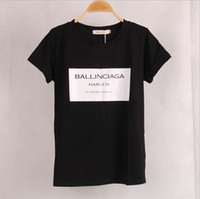 Wholesale Puffs Clothing - Ballinciaga Harlem T-shirt Women New 2017 Summer Popular Black White T Shirt Fashion Women Clothing Free Shipping