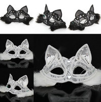 Halloween Sexy Fox Lace Mask Half Face Black / White Cat Face Венеция Party Mask Cosplay Performance Props Masquerade Supplies