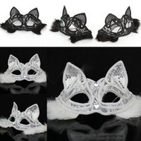 Halloween Sexy Fox Lace Maske Halbes Gesicht Schwarz / Weiß Katze Gesicht Venedig Party Maske Cosplay Performance Requisiten Masquerade Supplies