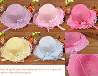 Wholesale Lace Sun Hat Girls - The new 2016 children's hat Straw lace sun hat ribbon flower beach hats caps wholesale five colors