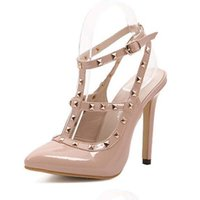 Wholesale T Strap Heel Closed Toe - fall 2016 SEXY WOMEN candy color high heel rivet T strap ankle pump lady club party close shoes