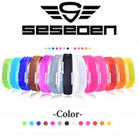 Wholesale Digital Display Watch Women - Wholesale-Fashion Sport LED Watches men Candy Color Silicone Rubber Touch Screen Digital Watches women Waterproof Bracelet Wristwatch