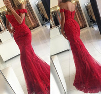 Discount button front lace dress - 2016 New Elegant Off The Shoulder Red Champagne Mermaid Evening Dresses Sexy Backless Sequins Appliques Lace Formal Party Prom Dresses