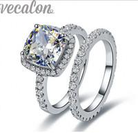Wholesale white wedding ring cushion - Vecalon 2016 fashion Women Wedding Band ring set cushion cut 3ct Simulated diamond Cz 10KT White Gold Filled Female Party ring