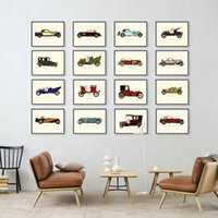 Wholesale Automobiles Pictures - Nordic Famous Vintage Retro Car Automobile Collection A4 Large Art Print Poster Hipster Wall Picture Canvas Painting No Frame Cafe Bar Deco