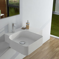 Wholesale Rectangular Wash Basins - Rectangular Bathroom Solid Surface Stone Wash Basin Wall hung Matt White Or Glossy Laundry Vessel Sink RS38184