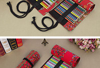Wholesale Nations Style Bags - DHL&SF_Express east Asia nation style Insert type pencil bag sailcloth rolls shape flower Printing pen curtain