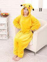 Wholesale pajamas anime pikachu for sale - 2017 New Hot Sale Yellow Pikachu Dress Lovely Cheap Pajamas Anime Cosplay Costume Unisex Adult Sleepwear Woman Coat
