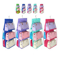 Wholesale Folding Closet Organizer - 6Pockets Hanging Storage Family Organizer Purse Handbag Tote Bag Closet Door Holder Bag Storage Holders Racks 9 Colors OOA3194