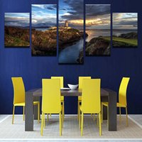 Wall Art Pictures Decoración para el hogar Canvas HD Print 5 piezas Steep Cliff Lighthouse Puesta de sol paisaje marino Pintura sin marco Mountain Ocean Poster