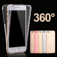 Wholesale Double Sided Iphone Case - For iphone 7 6 Plus 360 Degree Full Body Soft Clear Transparent TPU Case Cover Double Sided For Galaxy A3 A5 J5 S8