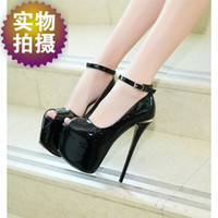 Wholesale 17 Cm Heel - New sexy patent leather heel metal 17 cm high with fine with waterproof fish mouth women's shoes
