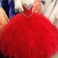 vestido de princesa rojo al por mayor-Vestidos de quinceañera 2019 Vestido de fiesta de princesa Rojo Púrpura Dulce 16 vestidos Lentejuelas con cuentas Vestidos con cordones Volantes Vestidos de talla grande De 15
