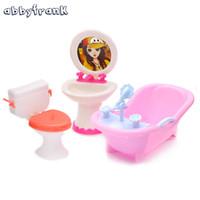 Wholesale furniture sinks - Abbyfrank Doll Furniture Toy Toilet Bathtub Bath Bathing Bowl Toilet Can Flip Wash Basin Sink Bathroom Doll Accessories Doll Toy