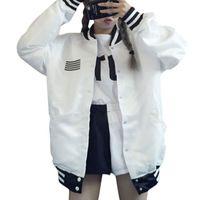 homens korean jaquetas longas venda por atacado-Atacado- 2017 New outono mulheres jaqueta coreano solto BF Harajuku homens mulheres manga longa single breated jaqueta casaco de duas cores navio da gota