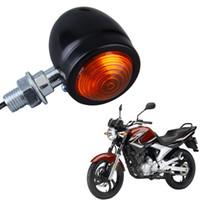 motocicleta llevó luces intermitentes al por mayor-Motocicleta Universal Negro / Plateado Bullet Turn Signal LED Indicator Light Blinker Lamp Rojo Para Cruiser Chopper Cafe Racer