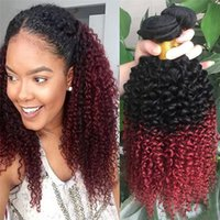 3Pcs Lot монгольских волос Ombre Virgin 1B Burgundy Kinky Curly человеческих волос # 1B / 99J Ombre Curly Virgin Weave Bundles
