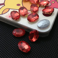 Wholesale Fancy Oval Rhinestones - New Arrival Multicolor 10 colors U Choose,10x14mm 225pcs lot color Glass rhinestone cabochon OVAL Crystal fancy stone Glass Bead For Jewelry