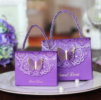 Wholesale laser cut boxes - High-quality Laser Cut Butterfly Flower Gift Bags Candy Boxes Wedding favors Portable Gift Box Party Favor Decoration 50pcs lot