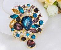 grande safira azul venda por atacado-2016 Hot Sale Da Moda Mulheres Broches Pins Azul Royal Grandes Broches para As Mulheres Sapphire Jóias Vestido De Noiva Bijoux Jóias Por Atacado