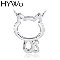 Wholesale Cartoon Pendent - HYWo 925 sterling silver (without chain) Women Jewelry Cartoon Cat Pendant Necklaces Hollow Retro Cat Pendent Chain