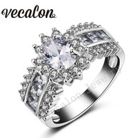 Bague Vecalon Eternity Femme 3ct Topaz Simulé diamant Cz 10KT White Gold Filled Engagement Wedding Band pour les femmes Sz 5-11