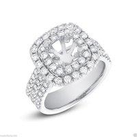 Wholesale Diamond Semi Mount Rings 6mm - 6mm Round & Princess Semi Mount 14K White Gold Diamond Engagement Ring Setting