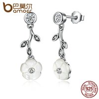 Wholesale Dropping Earring Good Quality - BAMOER 100% 925 Sterling Silver Good Quality White Flower Pendant Drop Earrings Push-Back Clasp Women Earrings Jewelry PAS479